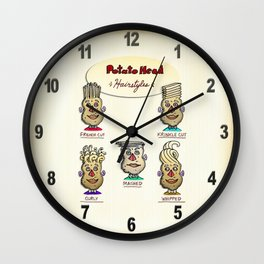 Popular Potato Head Hairstyles Wall Clock