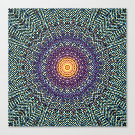 Happy Sun Circle Bohemian Geometric Thread Weave Pattern \\ Yellow Green Blue Purple Color Scheme Canvas Print