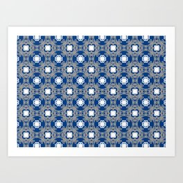 Blue white and grey square floral Art Print