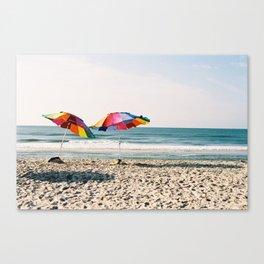 Beach Umbrellas on Film Canvas Print