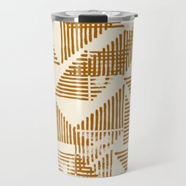 Stripe Triangle Block Print Geometric Pattern in Orange Travel Mug