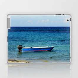 Blue boat red stripe in ocean water color photography Laptop & iPad Skin