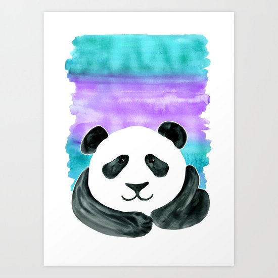Lazy Panda - purple & aqua watercolor Art Print
