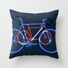 Fixed Gear Road Bikes – Blue, Purple and Red Throw Pillow