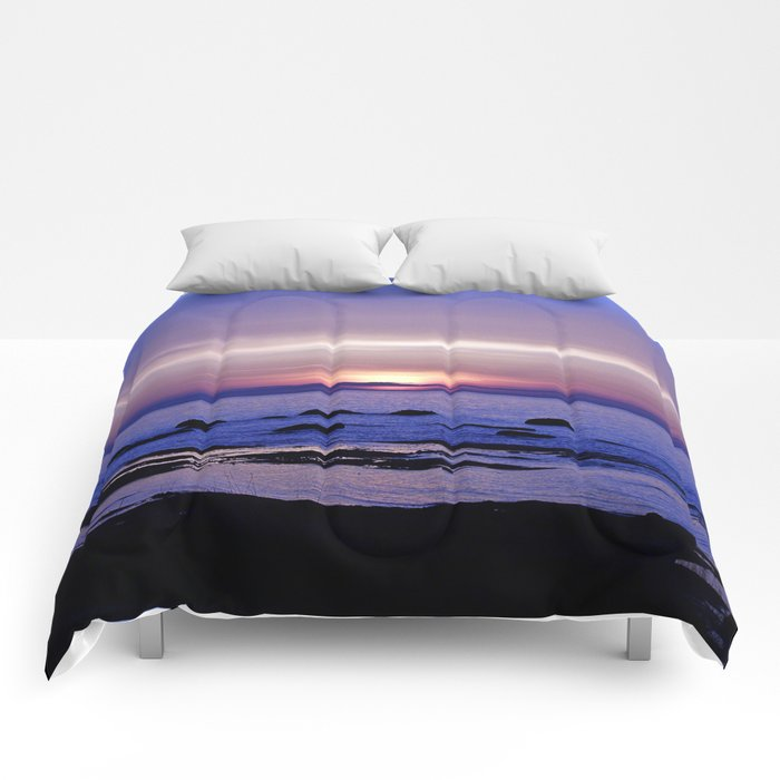 Blue and Purple Sunset on the Sea Comforters