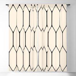 Long Honeycomb Geometric Minimalist Pattern in Almond Cream and Black Blackout Curtain
