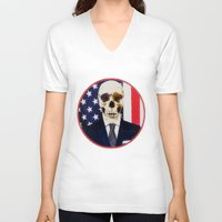 politics V-neck T-shirts featuring Deadly Politics by Devin Deadly