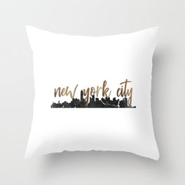 New York City Silhouette Outline Throw Pillow