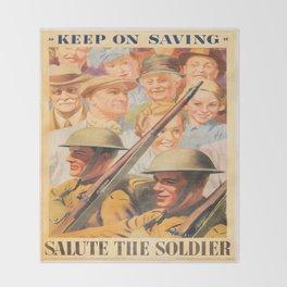Keep on Saving. Reprint of British wartime poster. Throw Blanket