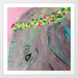 Flower Crown Elephant Art Print
