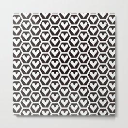 Black and white heart pattern 01 Metal Print