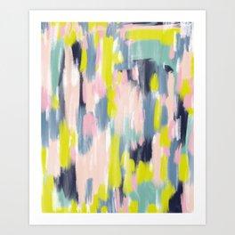 Abstract Brush Stroke Art in Modern Color Palette Art Print