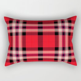 Argyle Fabric Plaid Pattern Red and Black Colors Rectangular Pillow