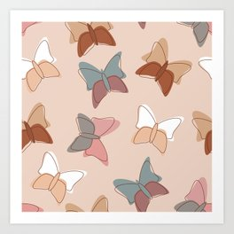 Butterflyes on a delicate pink background Art Print