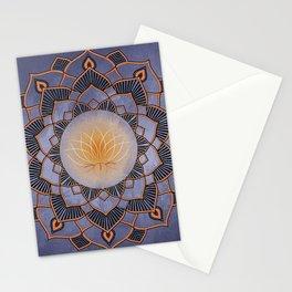 Orange Lotus Flower Mandala On A Textured Blue Background Stationery Cards