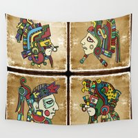 mexican Wall Tapestries featuring mexican warriors by laika in cosmos