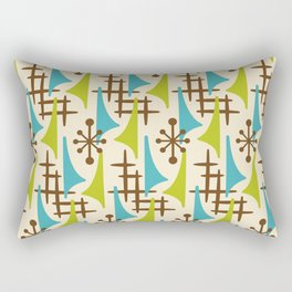 Retro Mid Century Modern Atomic Wing Pattern 423 Brown Olive Green and Turquoise Rectangular Pillow