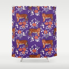 Tiger Clemson purple and orange florals university fan variety college football Shower Curtain