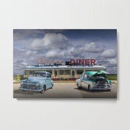 Classic Rosie's Diner with Vintage Automobiles near Rockford Michigan Metal Print
