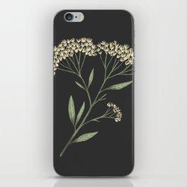 Yarrow / Milfoil illustration on dark background iPhone Skin