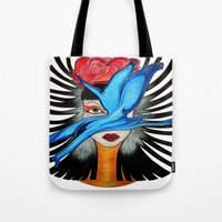 goddess Tote Bags featuring Goddess by Miss Midnight