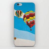 hot air balloons iPhone & iPod Skins featuring Three Hot Air Balloons by Shelley Chandelier