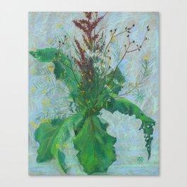 Burdock leaves and autumn herbs Canvas Print