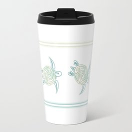 Turquoise Green Turtle And Mandala Travel Mug