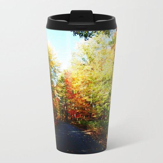Into the Fall Forest Metal Travel Mug