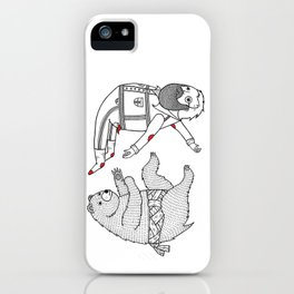 On the bear's uncontrollable urge to toss his master in the air iPhone Case