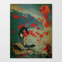 hokusai Canvas Prints featuring Delfin Hokusai by Lobuno