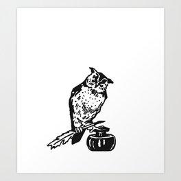So Wise Black Owl Art Print