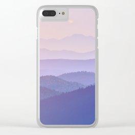 Purple Sunset Rolling Foggy Hills Landscape Photograph Clear iPhone Case