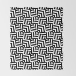 Black And White Op-Art Triangle Pattern Throw Blanket
