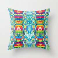 glitch Throw Pillows featuring glitch by Xenia Pirovskikh