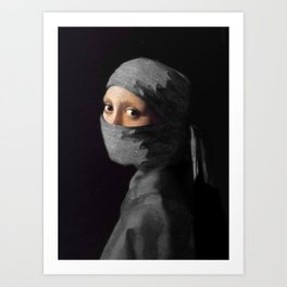 Ninja with a Pearl Earring Under Her Cowl Art Print