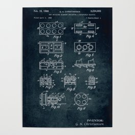 1962 - Toy building element including a rotatable bushing Poster