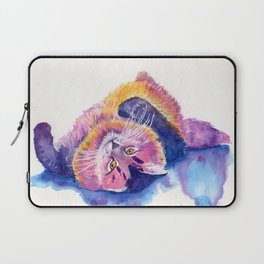 Colorful Watercolor Cat Laptop Sleeve