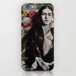 Frida Kahlo skulls and flowers iPhone Case