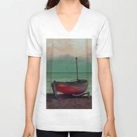 sailboat V-neck T-shirts featuring Sailboat by Regan's World