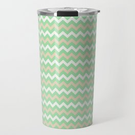 Pastel Green, Beige & Linen White Chevron Line Pattern Pairs to Noe Mint 2020 Color of the Year Travel Mug