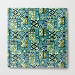 Blue Green Geometric Metal Print