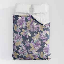 Amethyst Crystal Clusters / Violet, Blue and Gold Comforters