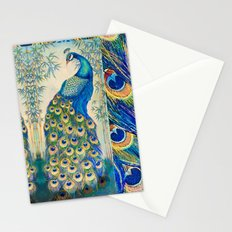 Blue Peacocks Stationery Cards