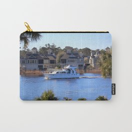 Palm Tree Boat Framed Carry-All Pouch