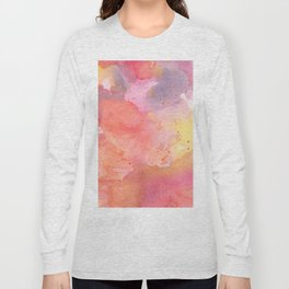 Sunset Color Palette Abstract Watercolor Painting Long Sleeve T-shirt