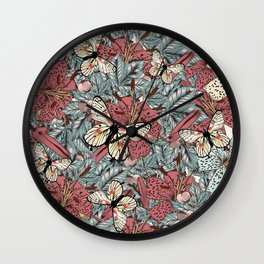 Classic vintage styled pattern with leafs and flowers Wall Clock