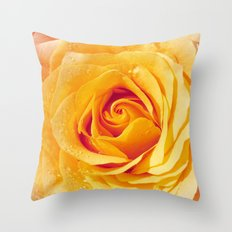 Gold Rose Bud- Yellow Roses and flowers Throw Pillow