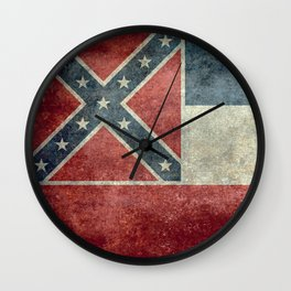 Mississippi State Flag in Distressed Grunge Wall Clock