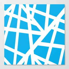 Abstract Interstate  Roadways White & Aqua Blue Color Canvas Print